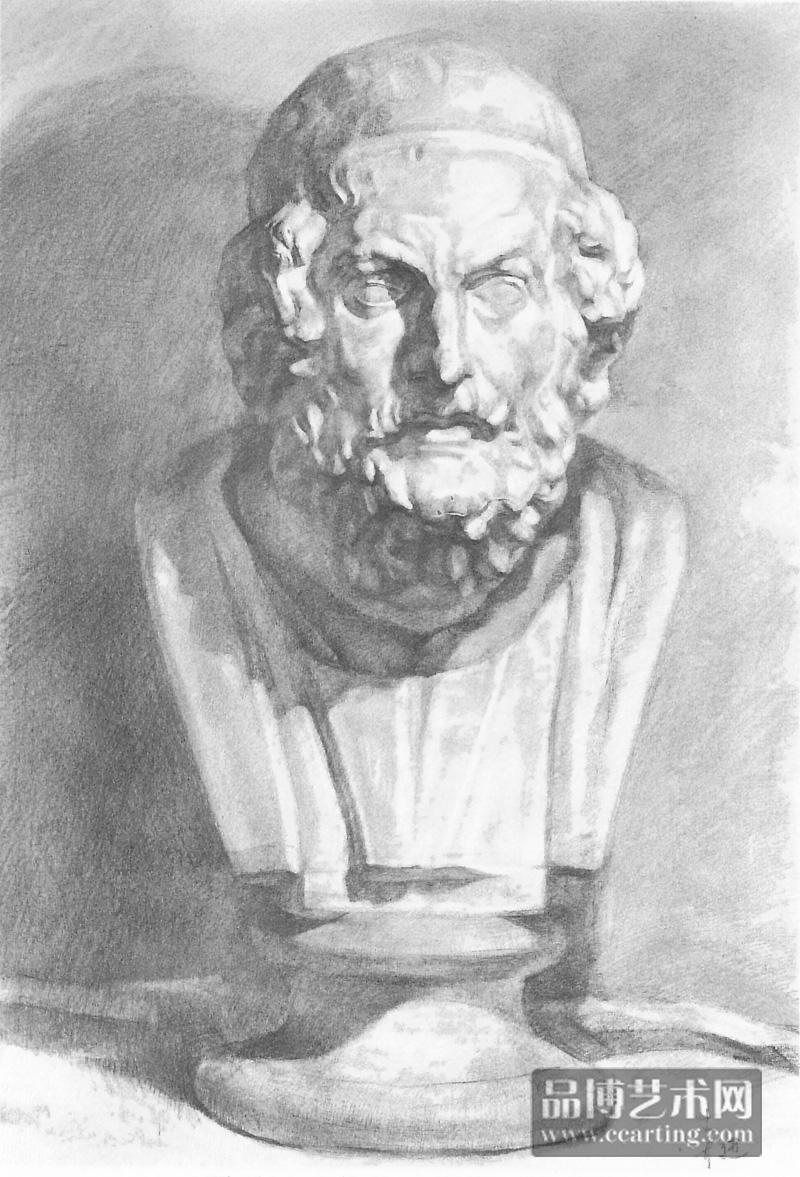 优秀素描石膏欣赏——荷马 - 素描 - 美术教育 - 品博