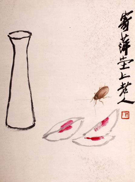 若隐若现的昆虫长须屏住呼吸一笔画出,跃然纸上,甚而可感受其弹性.