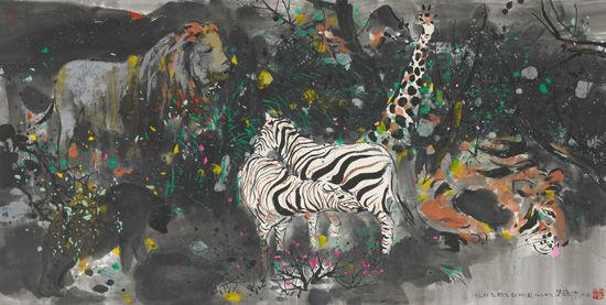 吴冠中《忆印尼野生动物园》