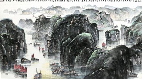 简易三峡画手绘黑白